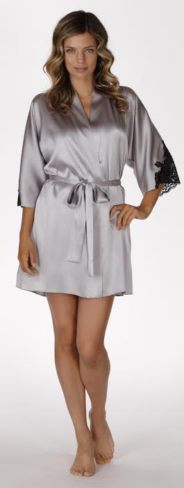Muse robe in stardust, silk lingerie, silk chemise, made in canada, christine lingerie, silk robe, short robe