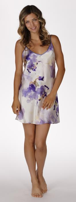 Iris silk chemise, christine lingerie, floral robe, long robe, short robe, made in canada, floral chemise