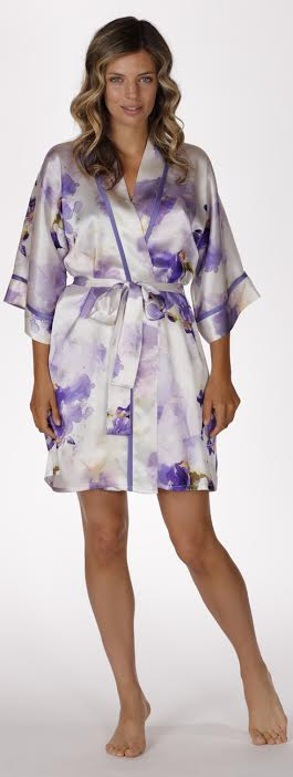 Iris short silk robe, christine lingerie, floral robe, long robe, short robe, made in canada, floral chemise, iris short robe