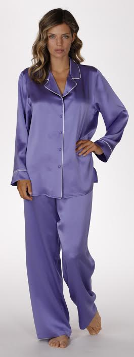Classic pj in iris purple, christine lingerie, floral robe, long robe, short robe, made in canada, floral chemise, classic pj, silk pajamas