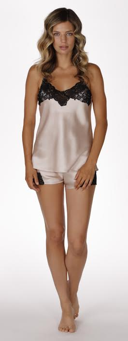 Muse cami and tap in rose, silk lingerie, silk chemise, made in canada, christine lingerie, silk robe, short robe, cami and tap, loungewear