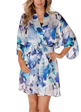 blue short silk robe, blue robe, silk robe, short robe, christine lingerie, made in canada