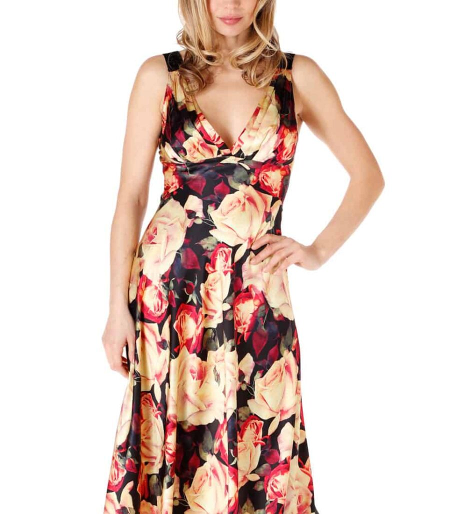 A silk nightgown with our Christine Lingerie floral English Rose print is worn by a women