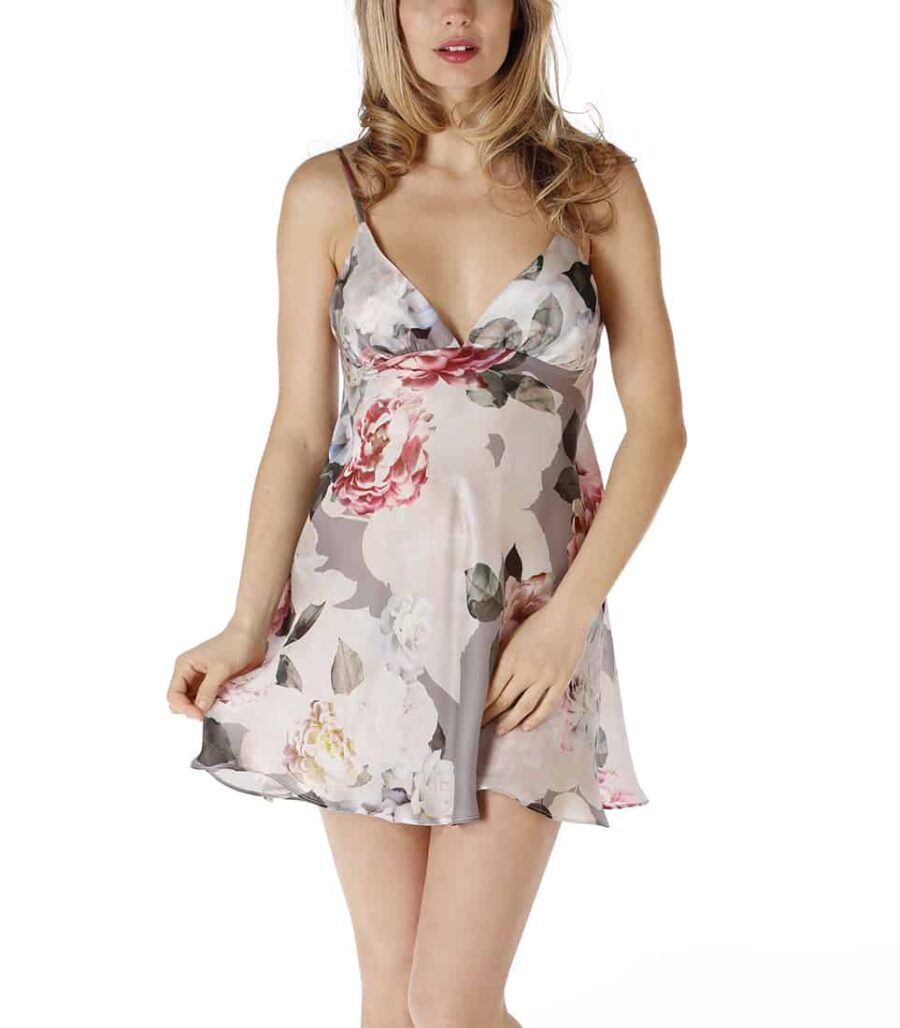 A silk chemise in our Christine Lingerie floral Jolie print is worn by a women