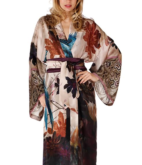 A silk long robe in our Christine Lingerie Phoenix print is worn by a women