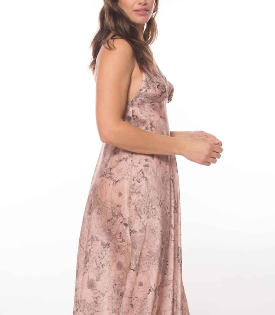 silk gown with our Christine Lingerie floral arabella print is worn by a women