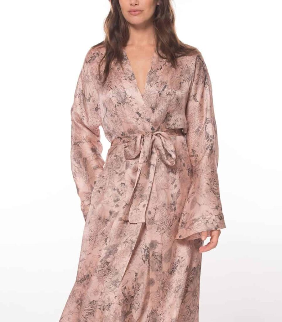 silk robe with our Christine Lingerie floral arabella print is worn by a women