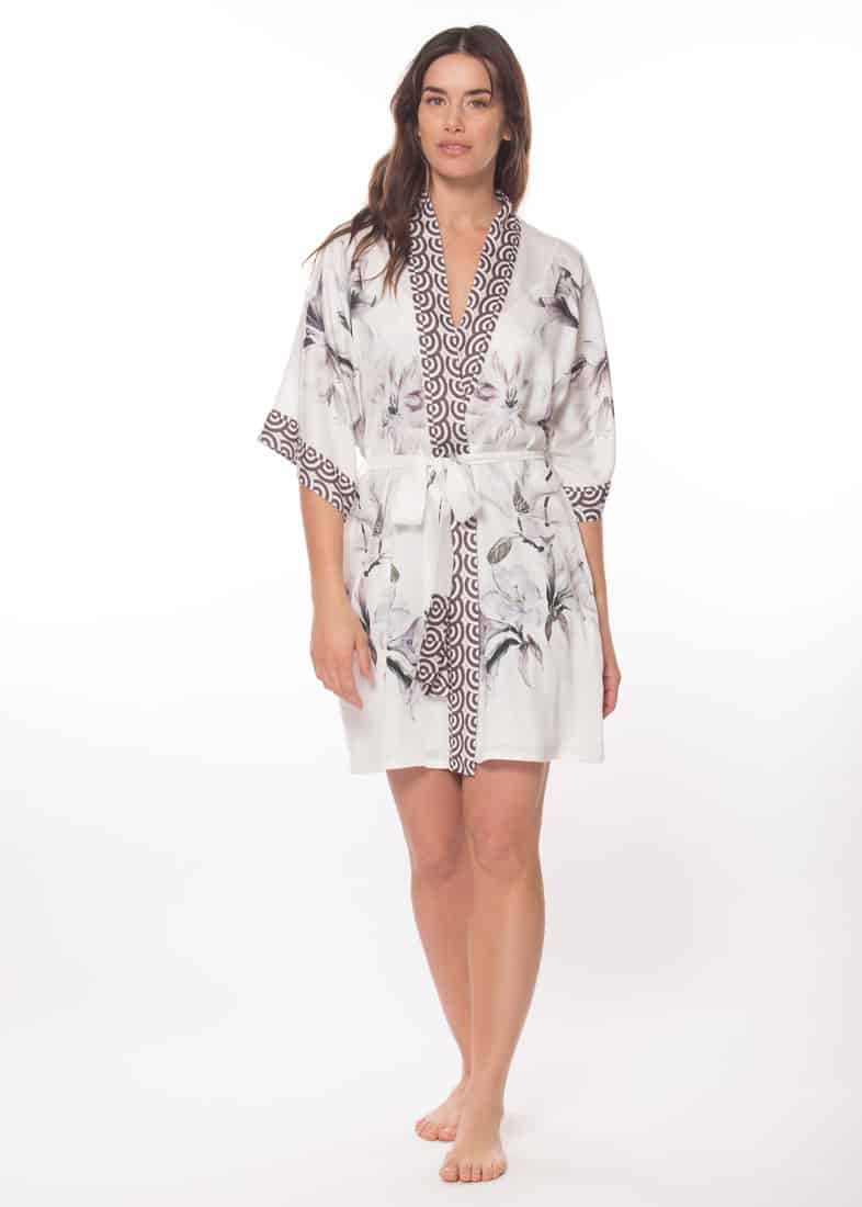 rayon short robe with our Christine Lingerie floral serentiy print is worn by a women