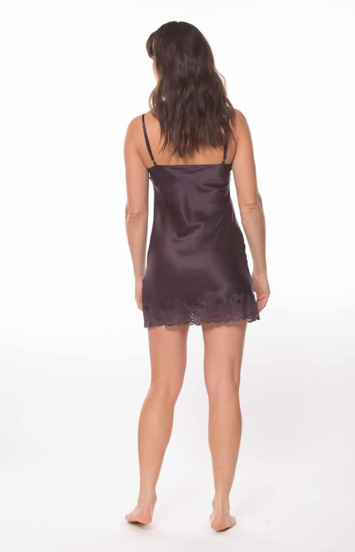 silk purple chemise with purple lace is worn by a women