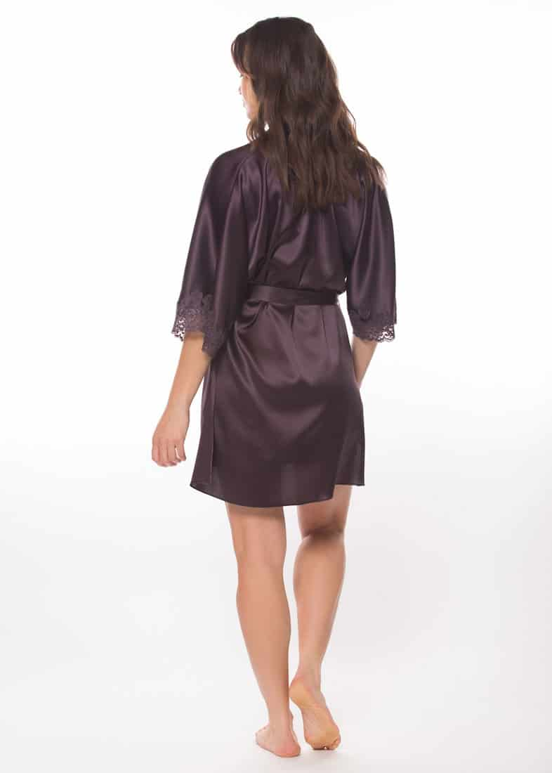 silk purple short robe with purple lace is worn by a women