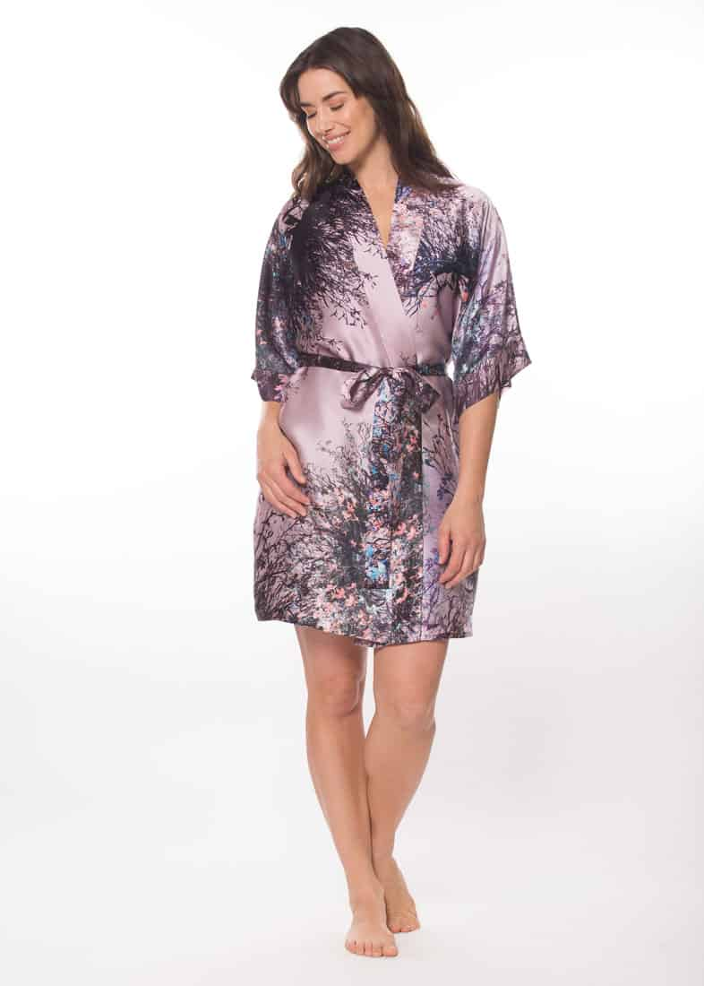 silk short robe with our Christine Lingerie purple mystique print is worn by a women