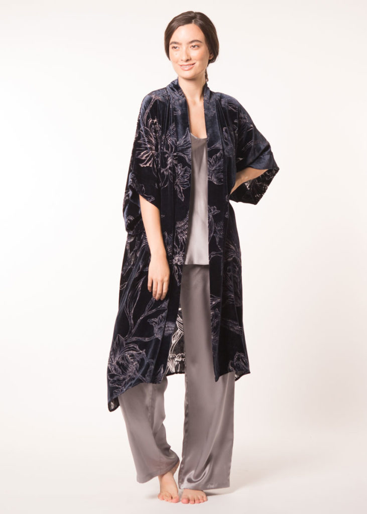 velvet midnight and print kimono is paired with a silk grey camisole and matching lounge pant is worn by a women