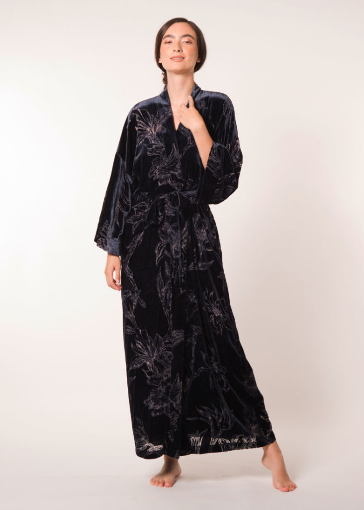 velvet midnight and print long robe is worn by a women