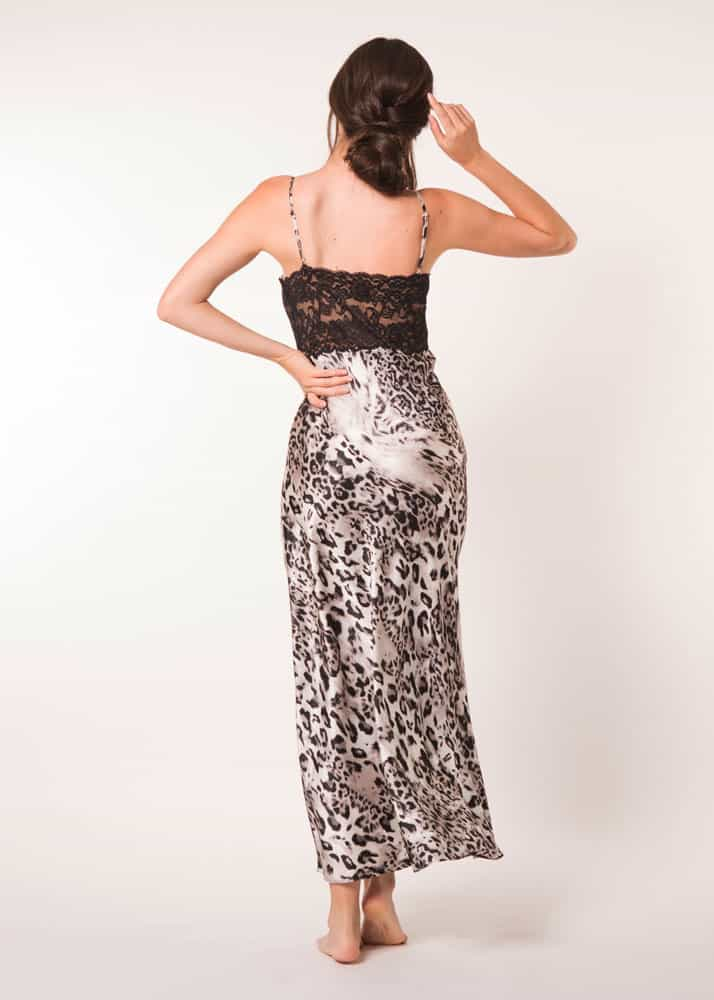 A silk gown with lace in our Christine Lingerie leopard Femme Fatale print is worn by a women