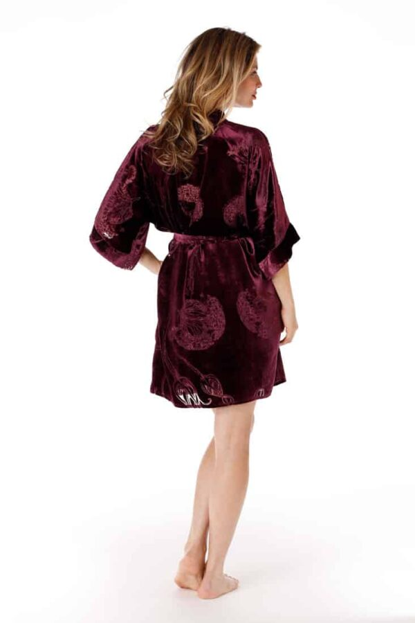 Black Cherry Fabergé Velvet Short Robe
