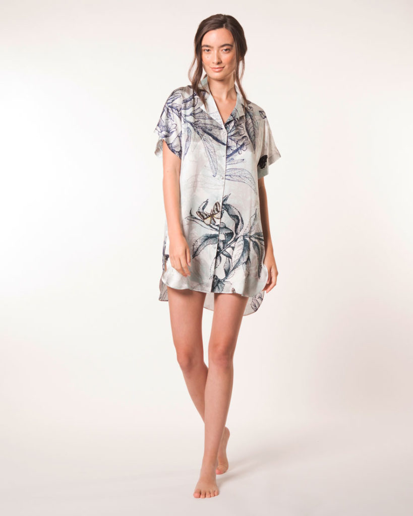 A silk night shirt in our Christine Lingerie floral Botanica print is worn by a women