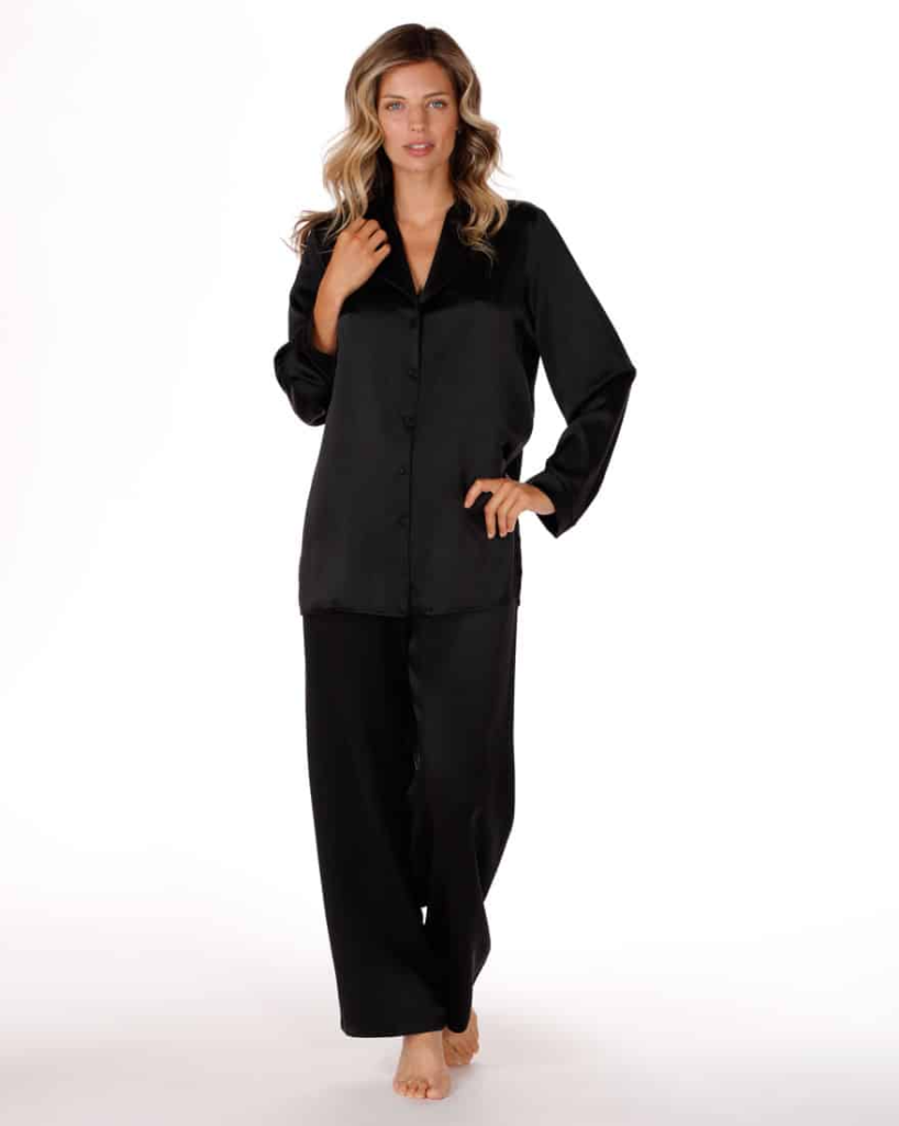 womens silk pajamas, black silk pajamas, silk pjs