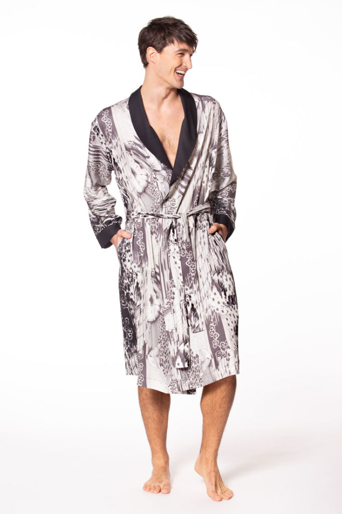mens silk robe, christine lingerie, made in canada